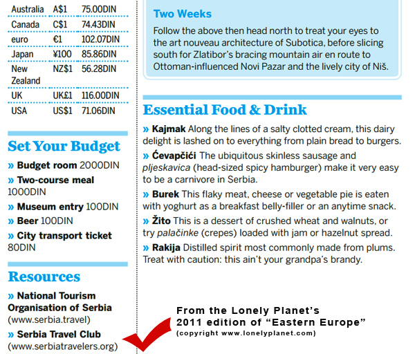 lonely planet & serbia travel club
