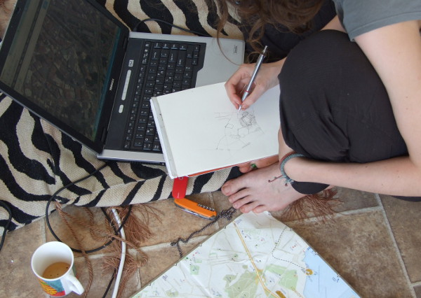 ester drawing a map